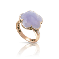 Pasquale Bruni 18k Rose Gold Bon Ton Ring with Blue Chalcedony and Diamonds