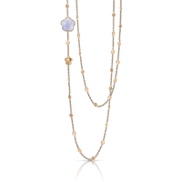 Pasquale Bruni 18k Rose Gold Bon Ton Necklace with Blue Chalcedony and Diamonds