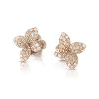 Pasquale Bruni 18k Rose Gold Petit Garden Earrings with White and Champagne Diamonds