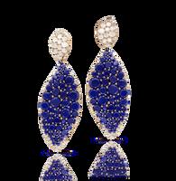 Pasquale Bruni 18k Rose Gold Lakshmi Earrings with Lapis Lazuli, Moonstone and Diamonds