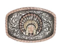 Bohlin Steriling Silver/Gold Chief Red Wolf Trophy Buckle