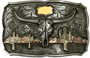 Bohlin Steriling Silver and Gold Arizona  Skull Trophy Buckle