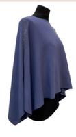 Augustina's Embellished Shoulder Knitted Poncho in Blue