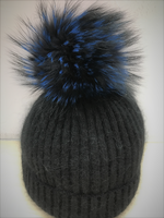 Augustina's Mohair Wool Pom Knit Beanie Black with Blue Pom Pom