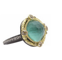 Armenta Malachite Doublet Carved Round Ring