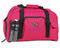 Personalized duffel bag shown in pretty pink