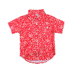 Floral Short Sleeve Shirt - Red