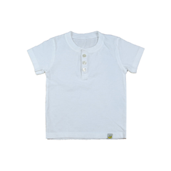 Organic Cotton Henley  - White