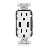 USB Plug Outlet Duplex Receptacle 15A TR Leviton - White