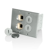 Perfect Combo Floor Outlets 15A + 2 Data Jack Ports Nickel Leviton