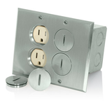 Duplex Floor Outlets for 4 Plugs 15A Nickel Cover Leviton