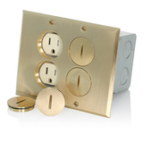 4 Socket Floor Receptacles 15A Duplex Brass Cover Leviton