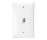 Standard F-Connector Video Wall Jack Plate  - White
