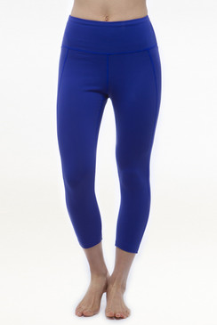 Blue High Waist Yoga Capri Leggings