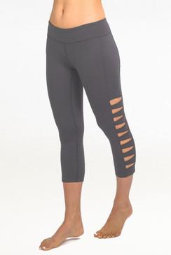 Grey Warrior Tough Cut Out Yoga Capris Leggings