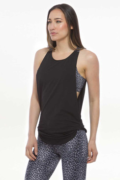 Flirt Twist Tank (Black/Charcoal Leopard)