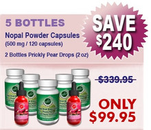 First Time Client Offering - 5 Bottles Natural Home Cures Freeze Dried Nopal Powder (Prickly Pear) Capsules (500 mg / 120 capsules) and 2 Natural Home Cures Prickly Pear Drops (2 oz)