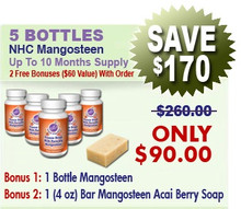 5 Bottles Natural Home Cures Freeze Dried Rich Pericarp Mangosteen Capsules Plus 1 Mangosteen Acai Berry Soap (4 oz)