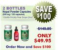 First Time Client Offering - 2 Bottles Natural Home Cures Nopal Powder Capsules (Prickly Pear) - 500 mg / 120 capsules and 1 Prickly Pear Drops (2 oz)