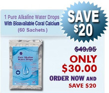 Natural Home Cures Pure Alkaline Water Drops With Bioavailable Coral Calcium (60 Sachets/Package)