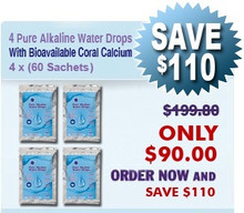 Natural Home Cures Pure Alkaline Water Drops With Bioavailable Coral Calcium 4 x (60 Sachets/Package)