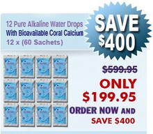 Natural Home Cures Pure Alkaline Water Drops With Bioavailable Coral Calcium 12 x (60 Sachets/Package)
