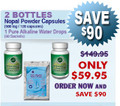 First Time Client Special - 2 Bottles Nopal (120 caps / 500 mg) & 1 Pure Alkaline Water Drops With Coral Bioavailable Coral Calcium (60 sachets)