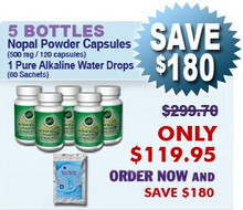 First Time Client Special - 5 Bottles Nopal (120 caps / 500 mg) & 1 Pure Alkaline Water Drops With Coral Bioavailable Coral Calcium (60 sachets)