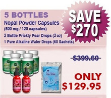 First Time Client Special - 5 Bottles Nopal (120 caps / 500 mg) Plus 2 Bottles Prickly Pear Drops 2 x (2 oz) & 1 Pure Alkaline Water Drops With Bioavailable Coral Calcium (60 sachets)