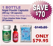 Existing Client - 1 Bottle Nopal (120 caps / 500 mg) Plus 1 Prickly Pear Drops (2 oz) & 1 Pure Alkaline Water Drops With Coral Bioavailable Coral Calcium (60 sachets)