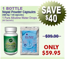 First Time Client Special - 1 Bottle Nopal (120 caps / 500 mg) & 1 Pure Alkaline Water Drops With Coral Bioavailable Coral Calcium (60 sachets)