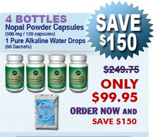 Existing Client Special - 4 Bottles Nopal (120 caps / 500 mg) & 1 Pure Alkaline Water Drops With Coral Bioavailable Coral Calcium (60 sachets)