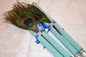Peacock Feather Aqua Program book / Menu scroll