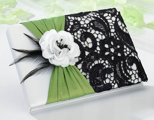 Green and Lace Black Guest Book and Pen Set