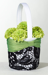 Green and Lace Black Flower Basket