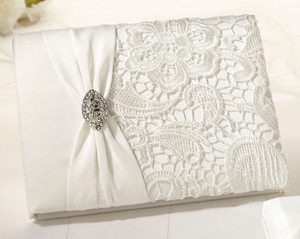 Cream Lace Guest Book and Pen Set