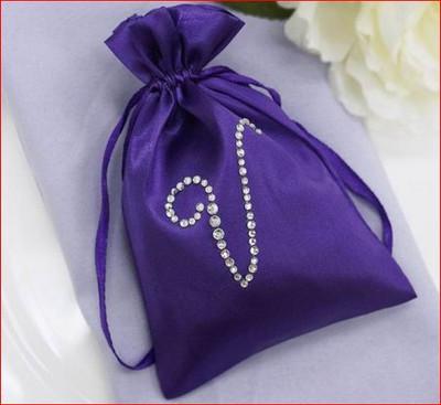 100 Personalized Diamond Letters 4x6 Satin Favor Bags
