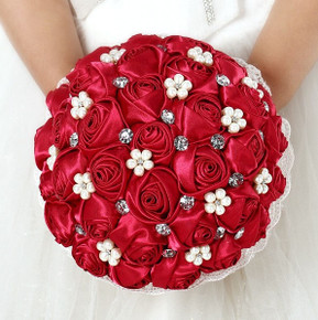 Handmade Custom Silk Wedding Bouquet - Red