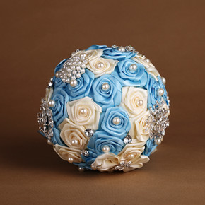 Handmade Artificial Beads & Silk Rose Bouquet - Light Blue