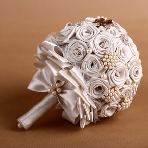 Handmade Artificial Beads & Silk Rose Bouquet - Gold and Light Grey