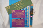 Peacock feather Scroll Invitation in the box - (Set of 25), royal theme, peacock theme, Unique wedding invitation-PKSC-001 (PKSC-001)