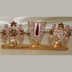 Indian Gift Favors (divya Sangu Chakra Naamam-big size -red & green stone)