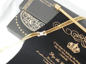 Black Gold theme Scroll in a Box (Set of 25), Unique style invitation, black & gold invitation  - SMSB -004