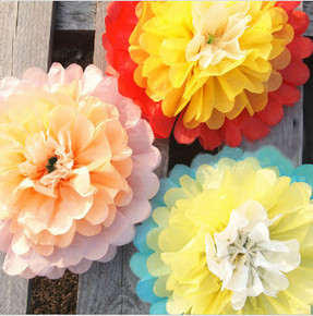 15 Multi Color Tissue Paper Pom Poms - 10 inch