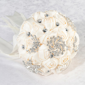 Ivory Crystal Flower Bouquet