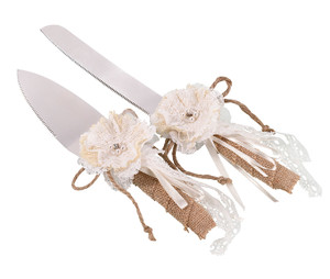 Burlap Knife and Server Set
