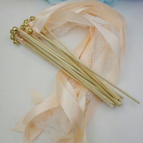 Wedding Wands (Set of 25) WW-001, Sendoff wands, Irish wedding, Wedding wand with bell,  VINTAGE WEDDING WANDS Lace Gold Silver Bells Ribbon Birthday Party Barn Farm Rustic Shabby Chic