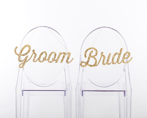 Bride and Groom Chair Signs - Gold Glitter