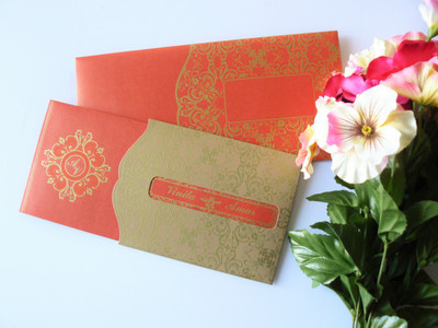 Elegant orange gold invitation - SC - 1438-EL