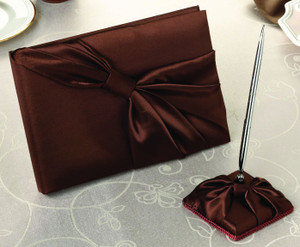 Chocolate Brown Guest Book and Pen Set